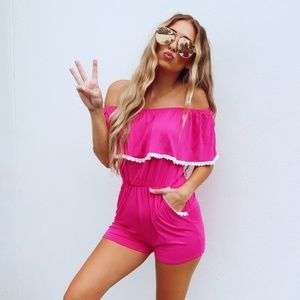 Easy Come Easy Go Romper: Hot Pink